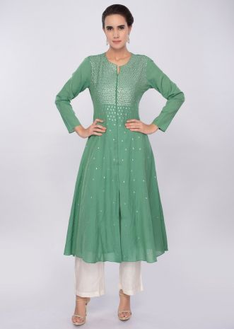 Green cotton kurti adorn with sequins work only on Kalki