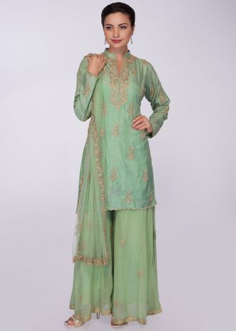 Green cotton silk palazzo suit in embroidered  butti