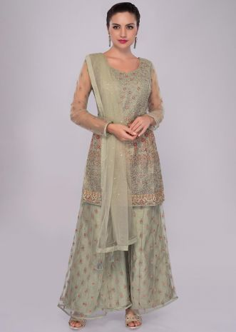 Green net palazzo suit set in net jaal embroidery