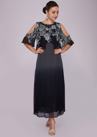 Grey and black double layer dress enhanced n digital print