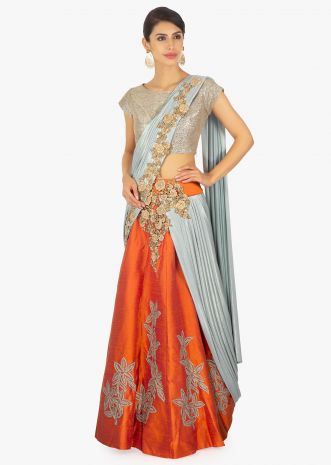 Grey and orange saree lehenga with blue lycra preattached dupatta with pleated pallo
