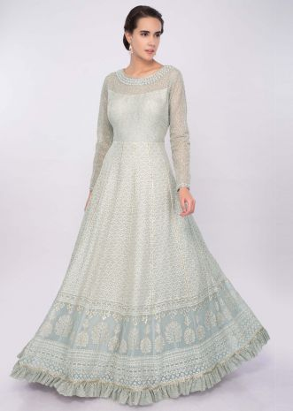 Grey georgette anarkali dress in thread and zari embroidery only on Kalki