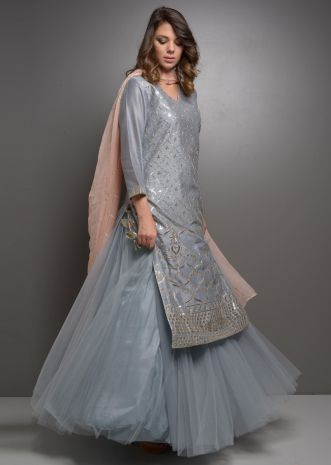 Grey gotta jaal suit with net skirt and pink chiffon dupatta