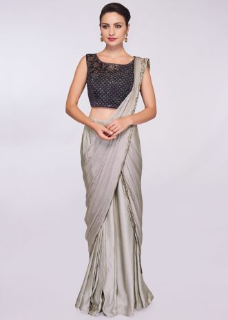 8157d17bfcc92a Grey satin pre stitched saree with ready pleats and draped pallo ...