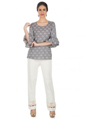 Grey Cotton Printed Ethnic Top Featuring Bell Sleeves  only on Kalki