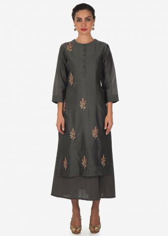 Grey double layer kurti in zardosi and french knot embroidered butti only on Kalki