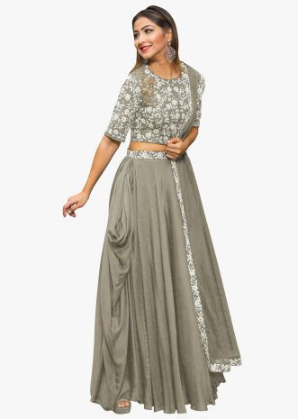 Grey lehenga in georgette with embossed thread embroidered blouse