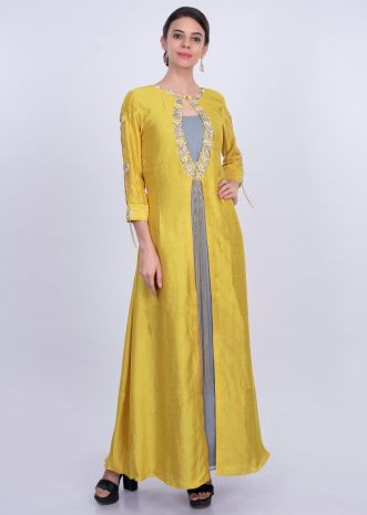 Greyish blue georgette tunic dress with yellow attached top layer only on Kalki