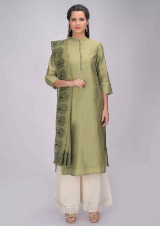 453fe1d504 Guacamole green kurti with embroidered matching silk dupatta only on Kalki  ...