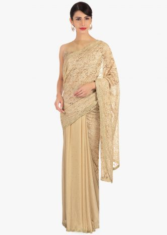 Half and half beige chantilly lace and chiffon saree