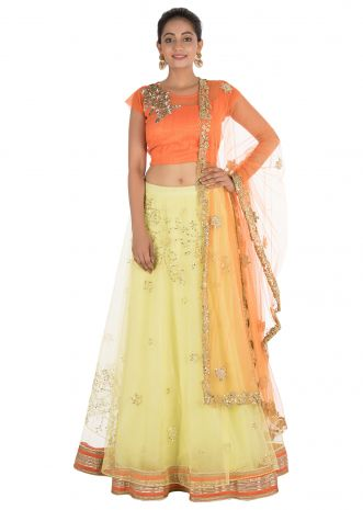 Hand Embroidered Bright Yellow And Orange Net Lehenga Set