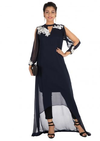 Hand embroidered Navy blue asymmetrical dress