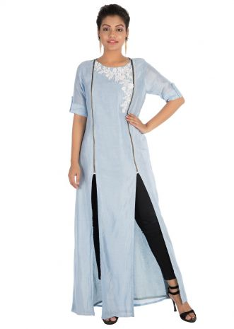 Hand embroidered Powder blue tunic with front slits