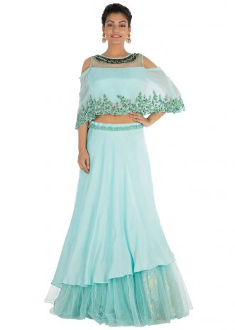 Hand embroidered Sea blue lehenga set