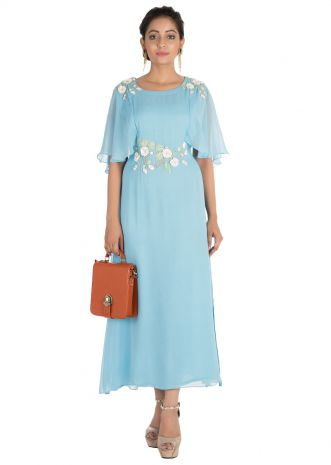 Hand embroidered Sky blue tunic with cape sleeves