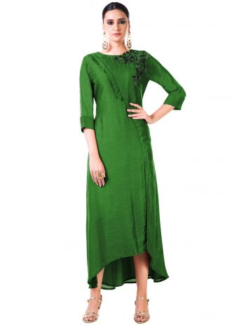 Hand Embroidered Green Bem Silk Tunic