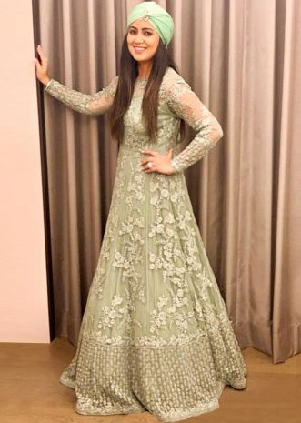 9a14f08f4ad Harshdeep Kaur in Kalki Pista green embroidered net anarkali gown ...