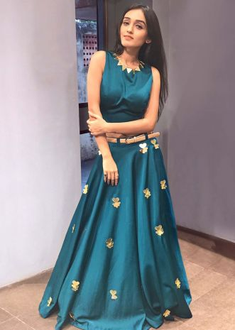 Teal blue lehegna in skuba silk with fancy tassel and belt only on Kalki