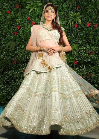 Anjum Fakih in Kalki pista green raw silk lehenga set