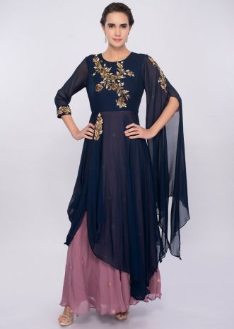 Indigo blue and orchid double layer tunic dress with drape and flared sleeves only on Kalki