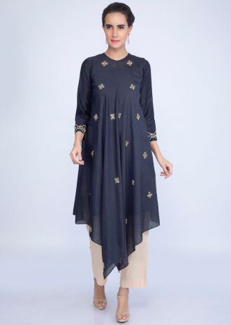 1a96e16df1cd1 Indigo blue fancy tunic dress with handercheif cut hemline only on kalki ...