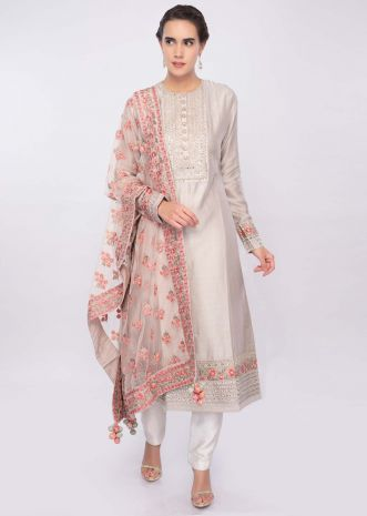Ivory cotton silk suit set with floral embroidered net dupatta only on Kalki