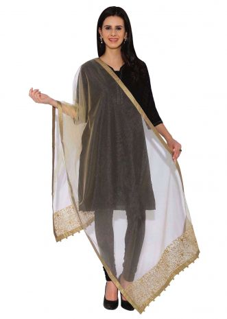 Kalki Beige Net Dupatta With Zari And Sequin Work On Border