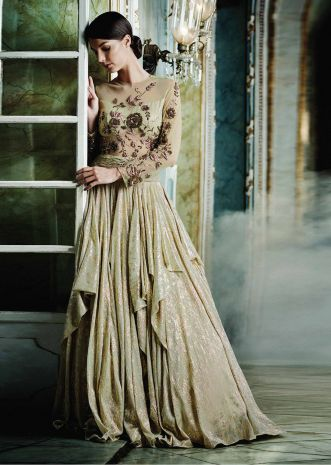 Gold shimmer gown embellished in floral embroidery only on Kalki
