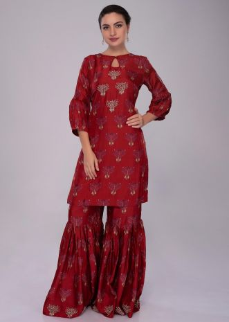 Lava Red cotton silk sharara suit in print and embroidered butti