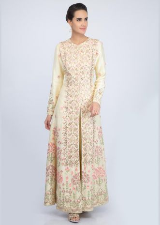 Lemon yellow embroidered long suit with front slit matched with straight pant only on Kalki