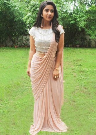 Light Peach Pre-Stitchid Saree With Crop Top Blouse Online - Kalki Fashion