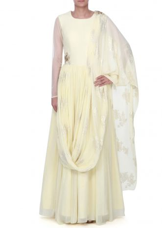lime yellow anarkali suit with attached dupatta only on kalki