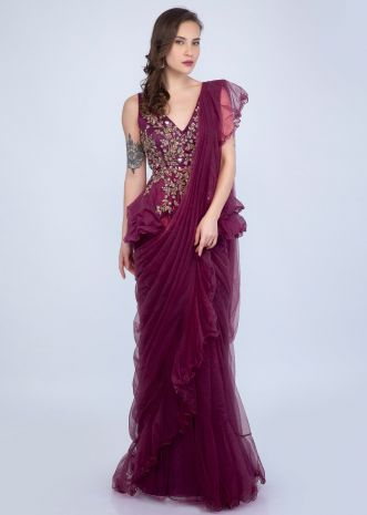 c8b37723eb4944 Magenta ready plated frilled saree with embroidered peplum blouse only on  Kalki ...