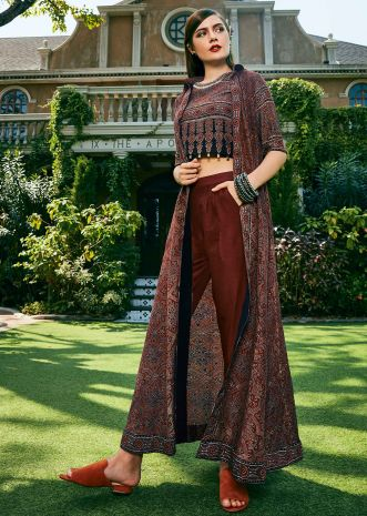 Maroon, black and grey suit featuring with printed crop top and jacket with fancy tassel
