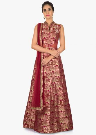 Maroon Anarkali Set paired with a brocade top and net dupatta only on Kalki