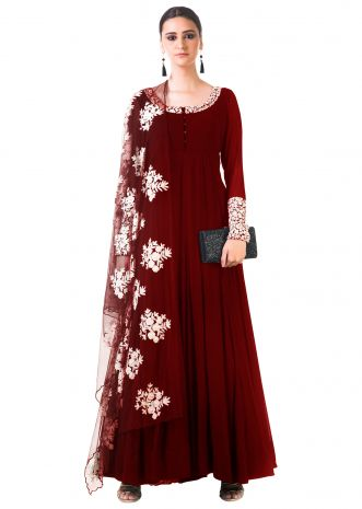 Maroon Ari Dress with Ari work net Dupatta