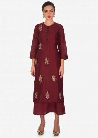 Maroon double layer dress in cotton silk with in zardosi butti only on Kalki