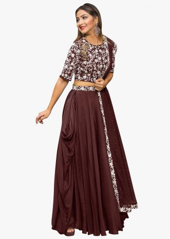 Maroon lehenga in georgette with embossed thread embroidered blouse