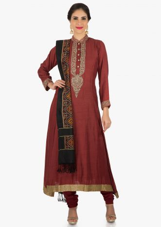 Maroon silk suit beautified with zardosi embroidery work only on Kalki