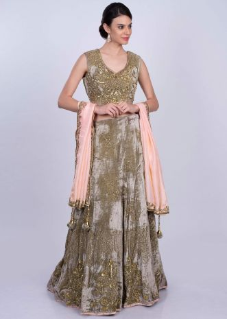 Mauve green heavy velvet lehenga set with salmon pink silk dupatta only on Kalki