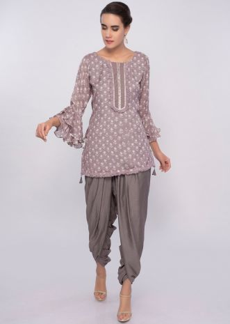Mauve grey dhoti and top in block print only on Kalki