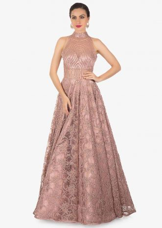 Mauve Net Gown Adorned with Intricate Embroidery Only on Kalki