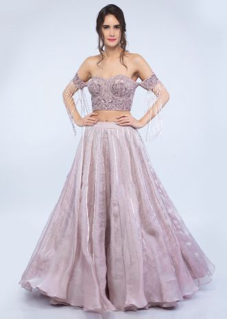 1f61131c9b9270 Mauve pink organza lehenga with off shoulder corset blouse only on Kalki ...