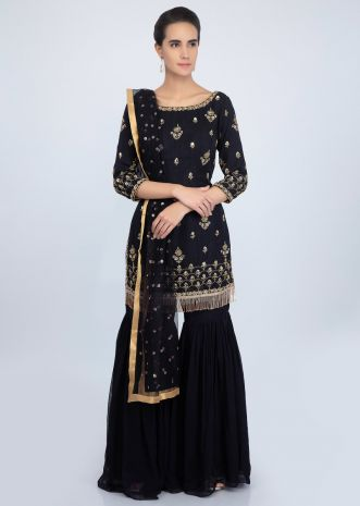 Midnight blue georgette suit set in embroidered butti and border only on Kalki