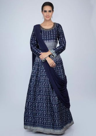 09b4f1dcf8587 Midnight blue printed raw silk lehenga with matching blouse with attached  drape lycra dupatta only on ...