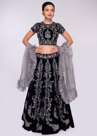 Midnight blue velvet lehenga set paired with grey ruffled organza dupatta