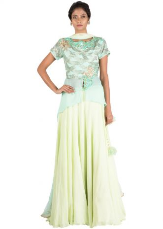 Mint Embellished Long Short Kurta And Lehenga Set