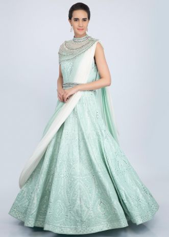 Mint green embroidered anarkali gown with shaded prestitched pleated dupatta only on Kalki