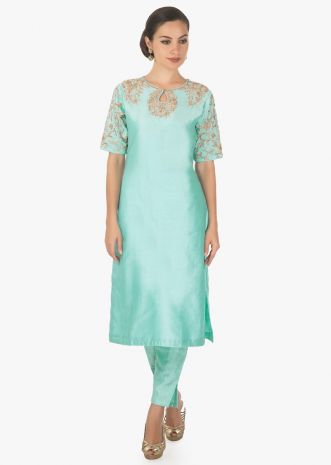Mint blue straight suit in silk with zardosi embroidered neckline and sleeve