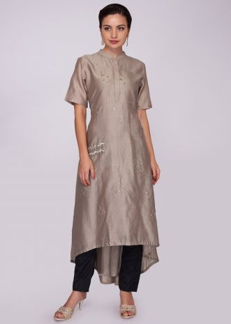 Monroe beige cotton kurti with front short and back long